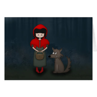Whimsical Little Red Riding Hood Girl and Wolf Card