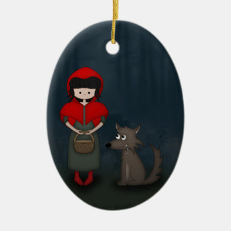 Whimsical Little Red Riding Hood Girl and Wolf Christmas Ornament