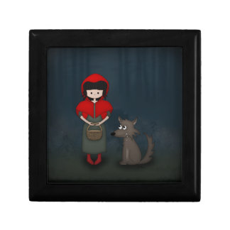 Whimsical Little Red Riding Hood Girl and Wolf Gift Box