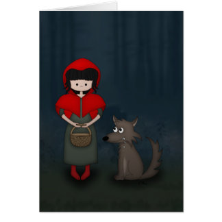 Whimsical Little Red Riding Hood Girl and Wolf Greeting Card