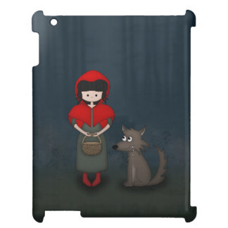 Whimsical Little Red Riding Hood Girl and Wolf iPad Case