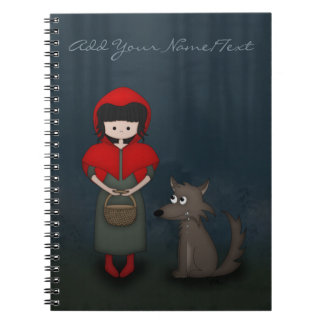Whimsical Little Red Riding Hood Girl and Wolf Notebook