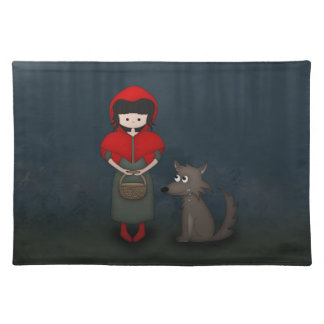Whimsical Little Red Riding Hood Girl and Wolf Placemat