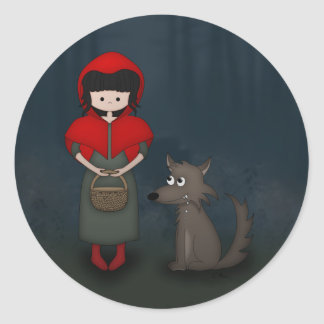 Whimsical Little Red Riding Hood Girl and Wolf Round Sticker