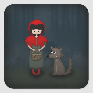 Whimsical Little Red Riding Hood Girl and Wolf Square Sticker