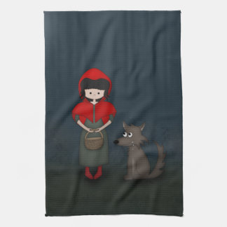 Whimsical Little Red Riding Hood Girl and Wolf Tea Towel