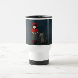 Whimsical Little Red Riding Hood Girl and Wolf Travel Mug