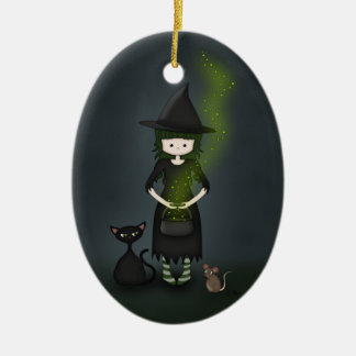 Whimsical Little Witch Girl with Cat and Mouse Christmas Ornament