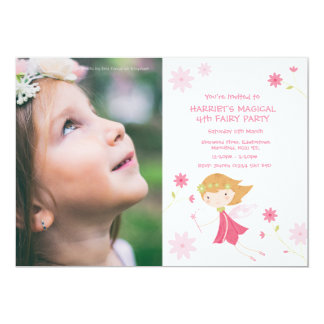 Whimsical Magical Fairy Birthday Invite With Photo
