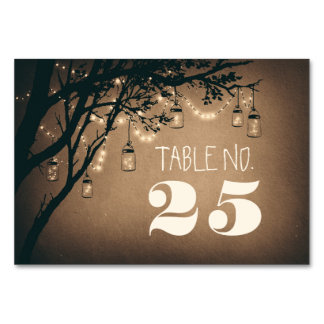 Whimsical mason jar &string lights table number table cards