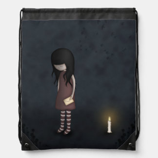 Whimsical Melancholy Young Girl Illustrated Drawstring Bag