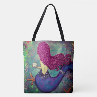 Whimsical Mermaid Tote Bag with starfish