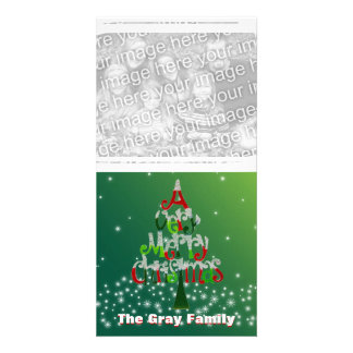 Whimsical Merry Christmas Tree Custom Add Photo Customized Photo Card