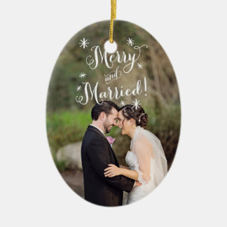 Whimsical Merry & Married First Christmas Photo Christmas Ornament