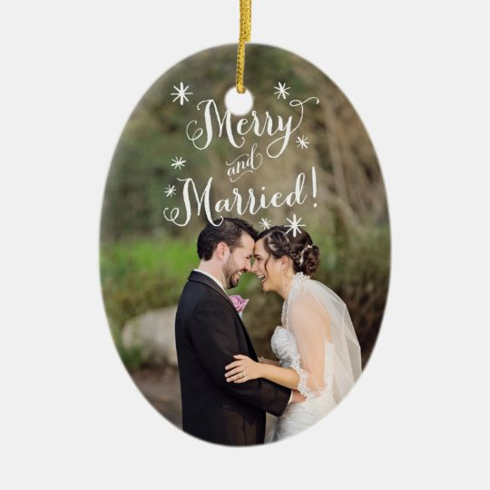 Whimsical Merry & Married First Christmas Photo Christmas