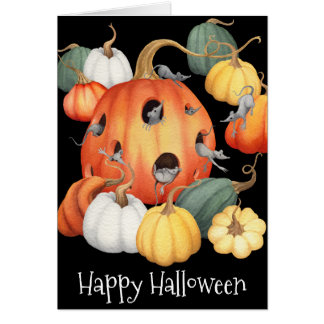 Whimsical Mice and Pumpkins Halloween Card