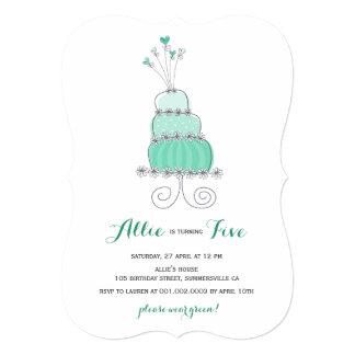 Whimsical Mint Cake Girl Birthday Party Invite