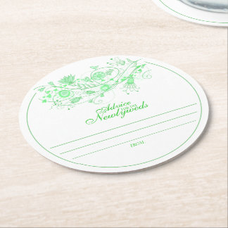 Whimsical Minty Green Advice for Newlyweds Coaster Round Paper Coaster