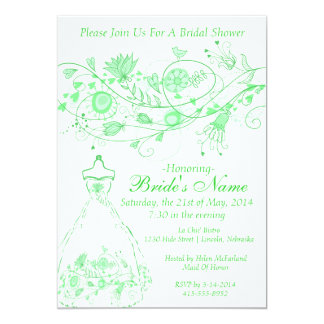 Whimsical Minty Green Bridal Shower Invite 1