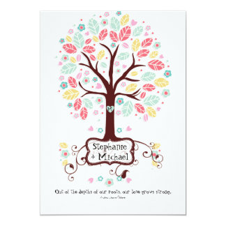 Whimsical Modern Swirl Heart Flower Tree Wedding Card