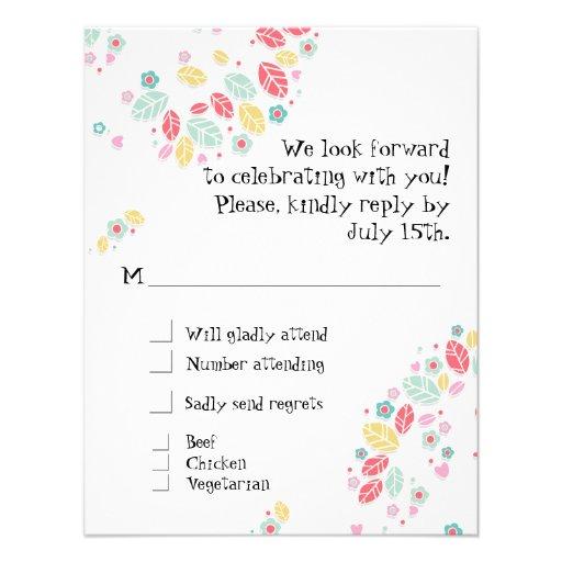 Whimsical Modern Swirl Heart Flower Tree Wedding Custom Announcements