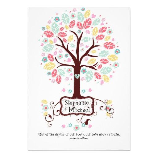 Whimsical Modern Swirl Heart Flower Tree Wedding Invite