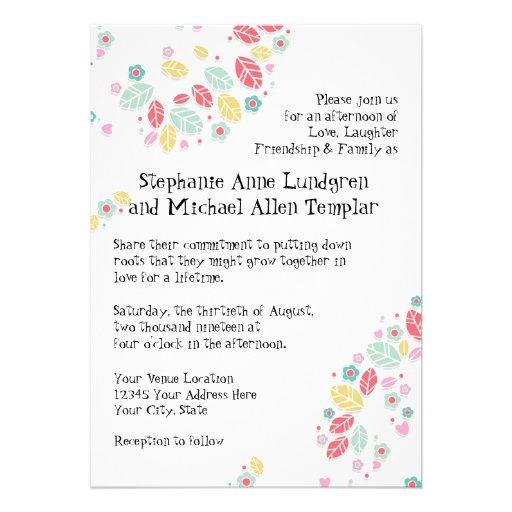 Whimsical Modern Swirl Heart Flower Tree Wedding Personalized Invitations