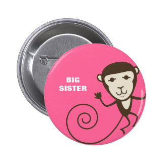 Whimsical Monkey Big Sister Buttons