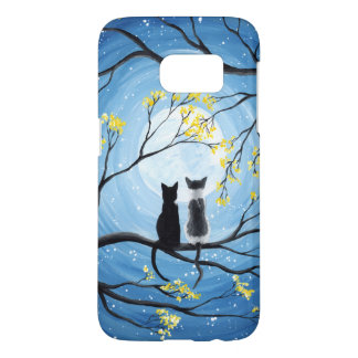 Whimsical Moon with Cats