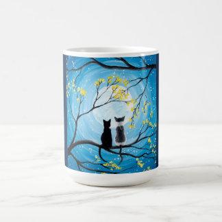 Whimsical Moon with Cats Coffee Mug