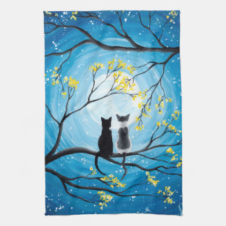 Whimsical Moon with Cats Tea Towel