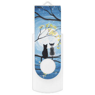Whimsical Moon with Cats USB Flash Drive