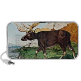 Whimsical Moose Watercolor Art Travelling Speaker