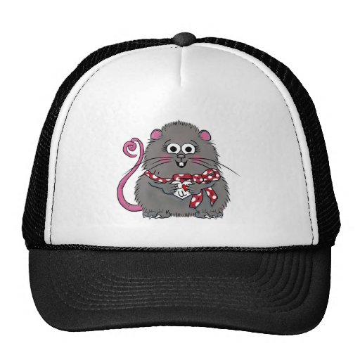 Whimsical Mouse I love you Valentine's Day Heart Hats