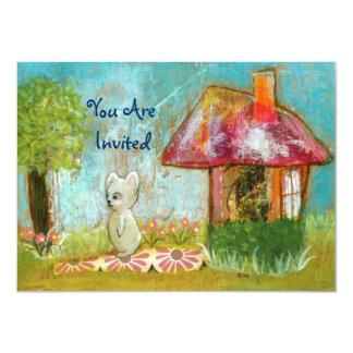 Whimsical Mouse Woodland Creature Folk Art Invited 11 Cm X 16 Cm Invitation Card