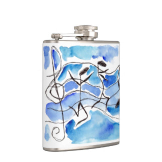 Whimsical music notes Dance Anthropomorphic  Flask