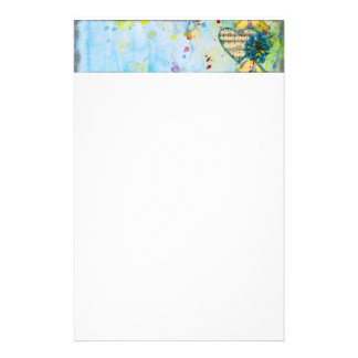 Whimsical Musical Painted Heart Header Stationery