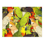 Whimsical Nature Green Parrots Birds Pattern Postcard