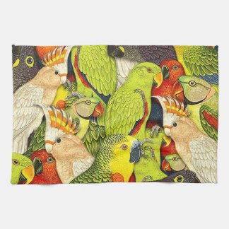 Whimsical Nature Green Parrots Birds Pattern Tea Towel