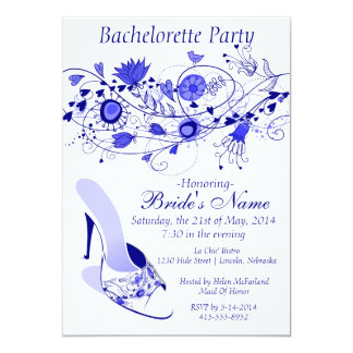 Whimsical Navy Blue Bachelorette Party 1 5x7 Paper Invitation Card