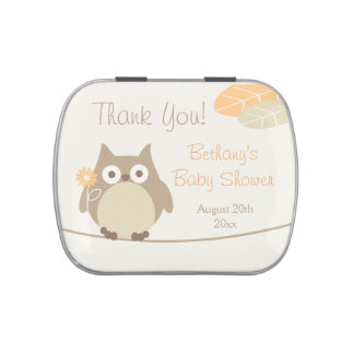Whimsical Neutral Gender Owl Baby Shower Favors Jelly Belly Tins