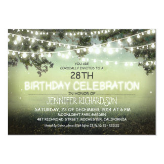 whimsical night & garden lights birthday invites