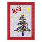 Whimsical Noel Fleur de Lis Christmas Tree Card