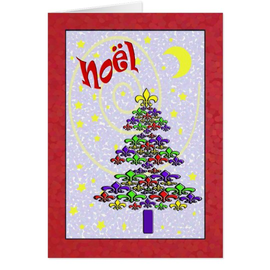 Whimsical Noel Fleur de Lis Christmas Tree Card