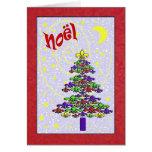 Whimsical Noel Fleur de Lis Christmas Tree Greeting Card