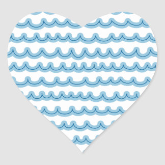 Whimsical Ocean Waves Heart Stickers