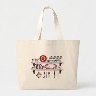 Whimsical Old Fashioned Kitchen Art Jumbo Tote Bag