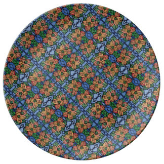 Whimsical  Orange And Blue Floral Pattern Plate