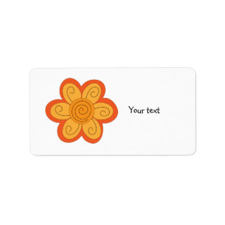 Whimsical orange and yellow flower address label