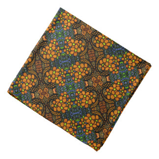 Whimsical Orange Floral Pattern Bandana